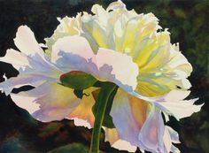 White Peony original watercolor painting by Cathy Hillegas, 21x29, pink, yellow, blue, cyan, green, emerald, watercolor floral, fine art