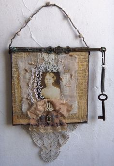 23  € Assemblage Art -  Lace Collage Altered Wall hanging -1099