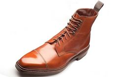Customized Men Brown Cap Toe Ankle High Laceup