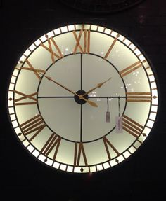 Stunning Extra Large Black And Gold Back Lit Glass Westminster Wall Clock 120cm