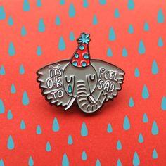 Sad Elephant  Soft Enamel Pin  It's Ok to be by KatieAbeyDesign