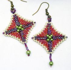 Beaded earrings peyote stitch bead woven by rivervalleydesign, $15.00