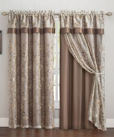 Loving this Chocolate Vanessa Embroidered Curtain Panel & Valance on #zulily! #zulilyfinds