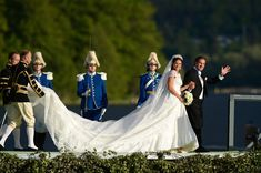 """The bridal couple depart Riddarholmen to sail with the SS/Stockholm to Drottningholm Palace for the wedding banquet; wedding of Princess Madeleine of Sweden and mr. Christopher """"Chris"""" O'Neill, June 8th 2013"""