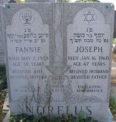 (going) The Extra Yad: Tombstone Tuesday: Joseph and Fannie Kargman Norflus, Montefiore Cemetery, Queens, NY #genealogy