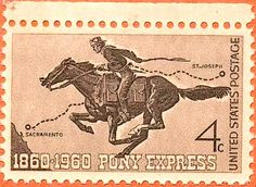 Pony Express 100 anniversary issue of 1960 Rare Stamps, Old Stamps, Pony Express, Going Postal, Guernica, Western Art, Stamp Collecting, Mail Art, Postage Stamps