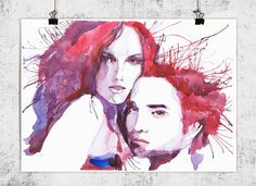 Twilight Watercolor painting illustration Celebrity by VALRART, $14.00