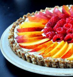 Peach and raspberry tart. Easy to make. Healthy  looks so impressive.