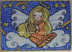 ACEO Original Joy Art Christmas Angel Cloud Harp Star Rainbow Heaven Blonde Cute #Miniature