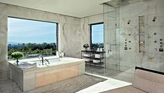 Master bath of southern California home. The view is nice but CHECK OUT THAT SHOWER!