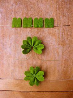 不织布超简单可爱四叶草 ,可以和孩子一起做。【阿画】