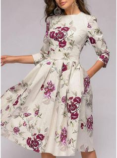 VERYVOGA Print/Floral 3/4 Sleeves A-line Knee Length Vintage/Casual/Elegant Dresses