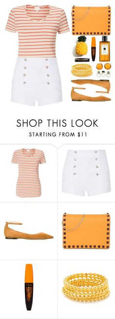 """""""Striped shirt"""" by simona-altobelli ❤ liked on Polyvore featuring EAST, Pierre Balmain, Jimmy Choo, Valentino, Rimmel, Gorjana, Lalique, MyStyle, stripedshirt and polyvorecontest"""