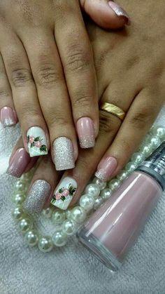 Unha Pretty Nail Designs, Nail Designs Spring, Toe Nail Designs, Trendy Nails, Cute Nails, Glitter Nails, Gel Nails, Manicure E Pedicure, Nail Decorations