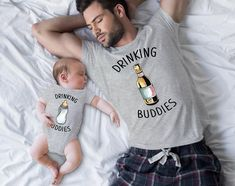 Drinking Buddies Milk and Beer Family Matching-Father and Son Mom Dad Baby, Father And Baby, Daddy And Son, Father Son Matching Shirts, Dad To Be Shirts, Baby Shirts, Baby Boy Photos, Cute Baby Pictures, Baby Bump Progression
