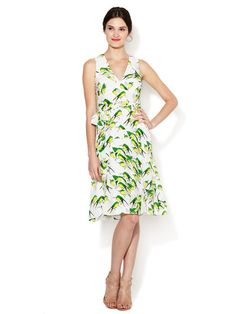 Patterned Silk Sparrow V-Neck Tie Dress by Carolina Herrera