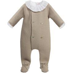 Mebi Beige Knitted Babygrow & Shirt Set at Childrensalon.com