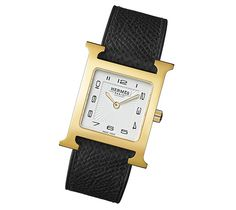 H-Our Hermes H-Our MM watch Swiss-made, quartz movementGold plated steel case (26 mm x 26 mm), white glazed dial, grained black calfskin leather strap, standard pin buckle