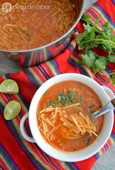 Sopa de fideo con chile guajillo can also add crema Healthy Crockpot Recipes, Veggie Recipes, Healthy Dinner Recipes, Mexican Food Recipes, Appetizer Recipes, Soup Recipes, Vegetarian Recipes, Cooking Recipes, Vegan Meals