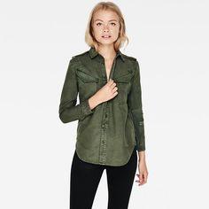 G-Star RAW      Women   Military   Rovic Straight Shirt        , Rustic Green/caval Green