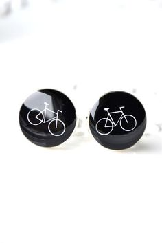 Bike Cufflinks - White On Black / style 82 by White Truffle Studio