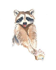 Original Raccoon Watercolor Painting - Raccoon Art, Cupcake Watercolor, 8x10. $48.00, via Etsy.