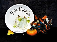 Give Thanks Plate Pottery Painting Glass Fusing Vase Candle Holder Dish Glass Fusing Projects, Paint Your Own Pottery, Pottery Studio, Pottery Painting, Give Thanks, Easy Diy Projects, Halloween Ideas, Candle Holders, Thanksgiving