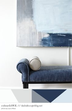 Colour Love // 54 [white, grey, gray, dark blue, light blue, navy, painting, canvas, art, bench seat, chaise, love seat, bolster pillow, cushion, hall, interior design, styling, colour, color, palette] Kaleidoscope Blog