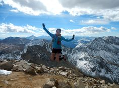Stephanie L. with her Simple Hydration Bottle tucked into her pack on top of Mt. Huron in Colorado.