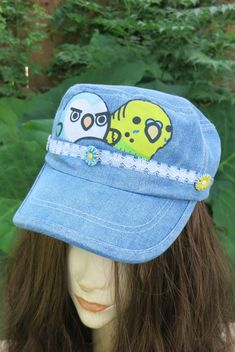 2663bfb490c Parakeet and Owl Cadet Hat Parrot Cap Jean Baseball HAT