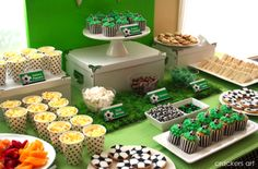 """Here are some """"fan-tastic"""" ideas to help you throw the perfect soccer birthday bash or celebrate a great seson with your child's team. Sports Themed Birthday Party, Soccer Birthday Parties, Football Birthday, Soccer Party, Sports Party, Birthday Ideas, Kids Soccer, Birthday Bash, Soccer Ball"""