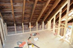 So this is what the attic looks like these days. It will have 2 bedrooms (one on either end), a 2-piece bathroom, 2 closets and a study/l...