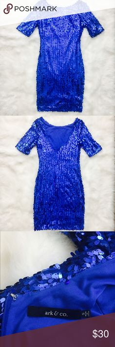 Beautiful Blue Sequin Dress Beautiful blue sequined dress perfect for NYE or Holiday parties! Dresses