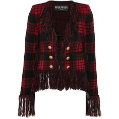 Balmain Fringed tartan jacquard-knit blazer ($1,550) ❤ liked on Polyvore featuring outerwear, jackets, blazers, red, knit blazer, balmain jacket, fringe jacket, plaid blazers and tartan blazer