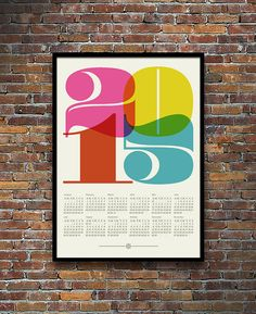 2015 calendar poster print, Mid Century Modern, retro kitchen art, office art, Eames, graphic design, typography poster - 50 x 70 cm
