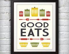 Jars Print, Bowl Print, Kitchen Art, Kitchen Print, Mid Century Print, Mid Century Art, Mid Century Poster, Good Eats - 8x10
