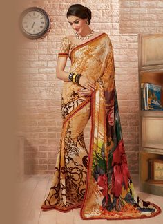 Buy latest style sarees, designer sarees, bollywood sarees online. Huge collection of latest designs. Epitome multi colour georgette casual saree for casual and party.