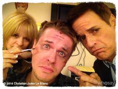David Tom and Christian Jules LeBlanc in The Young the Restless makeup room