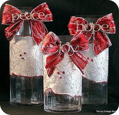 DIY-hurricane candle holders with decoupage and Peace, Hope, & Joy ornament details