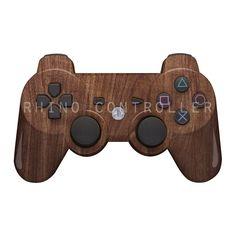 Custom PS3 controller Wireless Glossy WTP-207-Brown-Wood-Grain Custom Painted