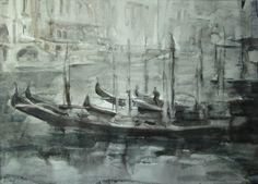 Regnerischer Tag. Gondeln am Canal Grande - venezianische Landschaft - original…
