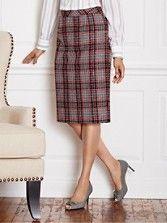 Novelty Weave Plaid Pencil Skirt