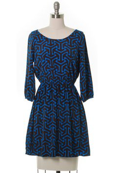 Tetris Marathon Dress Brown, Blue, Modcloth Style, Casual, 3/4 sleeve, Geometric #ModCloth #Aline #Casual