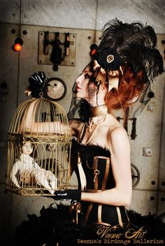 Steampunk. Love everything about this from the corset to the headpiece.