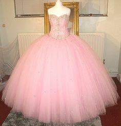 CINDERELLA 'S I DO AURORA BOREALIS CRYSTAL DIAMONTE 2 METER WIDE PINK WEDDING DRESS