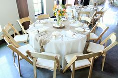 Country Wedding- White Linen with Burlap and Round Wooden Centerpiece with Sunflower Floral Display