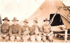 Camp Wadsworth near Spartanburg S.C. spring 1918. MF Carey second from left right before sailing for France.