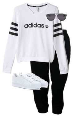 """Untitled #9249"" by alexsrogers ❤ liked on Polyvore featuring adidas, adidas Originals and Christian Dior"