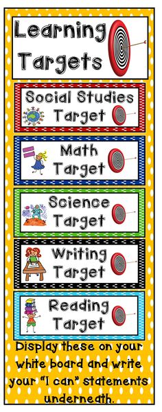 5 Learning Target Signs for the basic subjects: reading, writing, math, science and social studies. Display these signs and write your learning target underneath. A learning target helps students grasp the lesson's purpose--why it is crucial to learn this 3rd Grade Classroom, Future Classroom, School Classroom, Classroom Walls, Science Classroom, Classroom Decor, Learning Target Display, Learning Objectives Display, Visible Learning