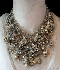 Kay Adams fabulousness - six necklaces #layered #necklace #statement #jewelry #royal #fashion #retro #rhinestones #highend #luxury